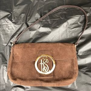 Kate Spade Suede Pochette With Logo Flap Front